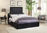 Black Deep Tufted High headboard and Low profile Bed