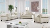 Cream Velvet  Living Room Set with tufting, nailhead trim