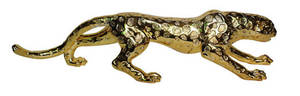 Gold creeping leopard sculpture animal
