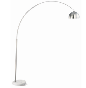 Chrome Arched lamp with brushed steel and marble base