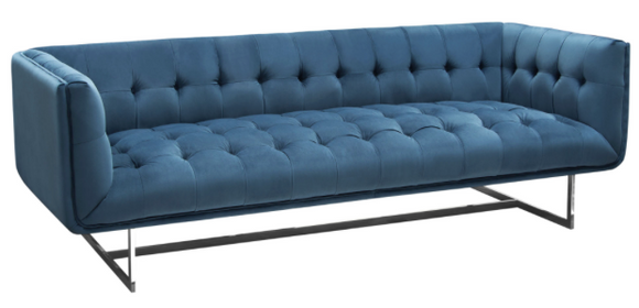The Calabasas Sofa has a hollywood glamour style that was created to impress. The royal blue velvet fabric marries well with the tufting. It is accented by a modern stainless steel base.