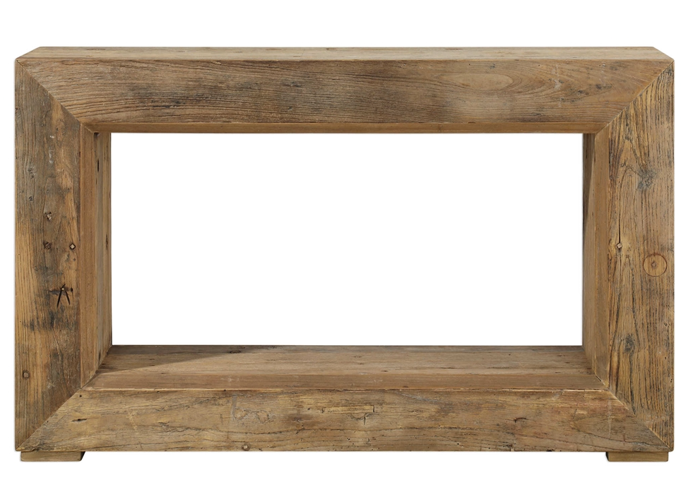 Rectangular Console Table made of Elm Wood with an opening