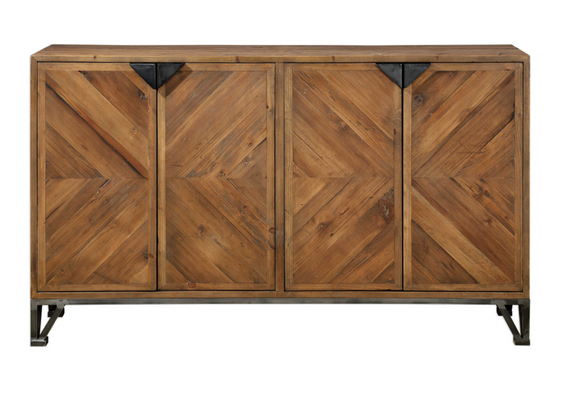 Sideboard Cabinet made out of reclaimed wood with an iron pocket door