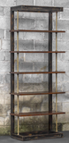 Etagere in an antique brass finish with suspended dark honey stained display shelves