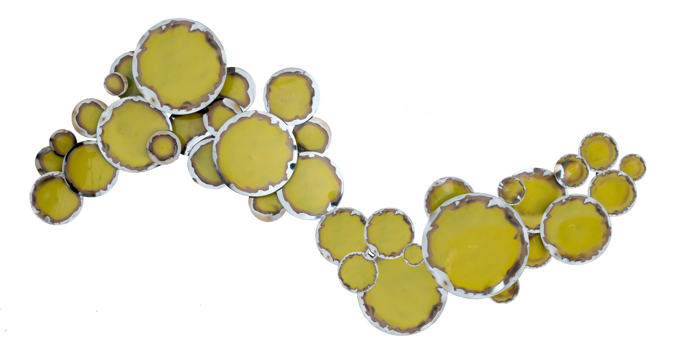 Yellow/Green Chrome Metal Wall Art