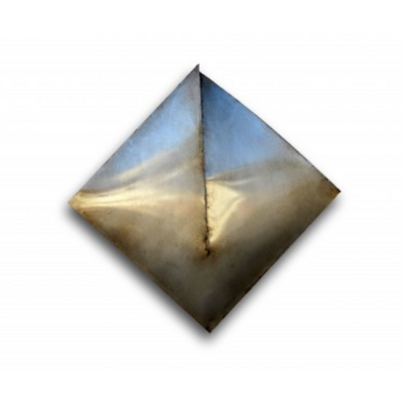 diamond shaped wall decor made of weathered and aged cold rolled steel
