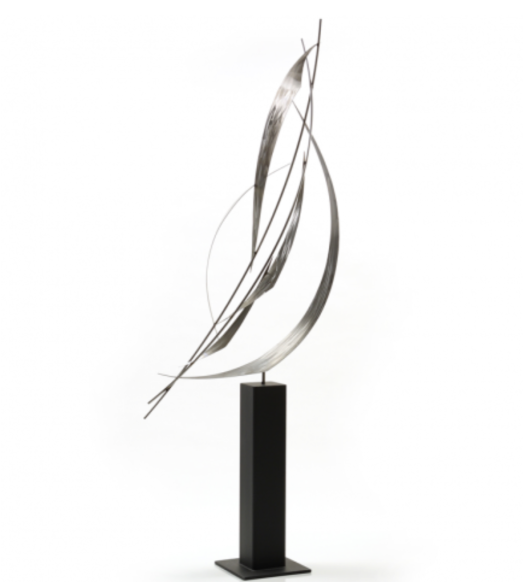 a painted steel statue with a stainless steel base