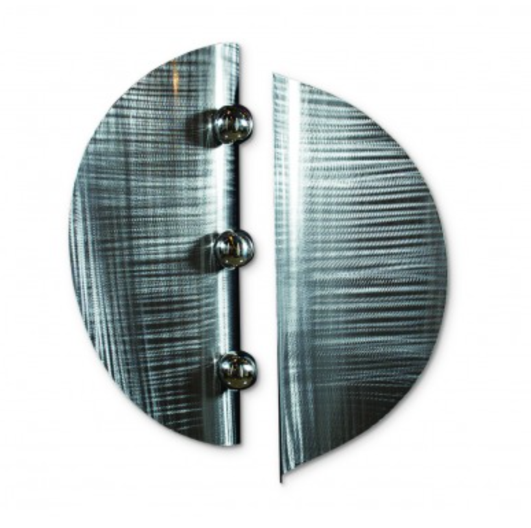 two piece wall art made of brushed stainless steel