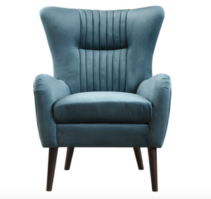 teal century styled accent chair featuring a flare back and channel tufted accents