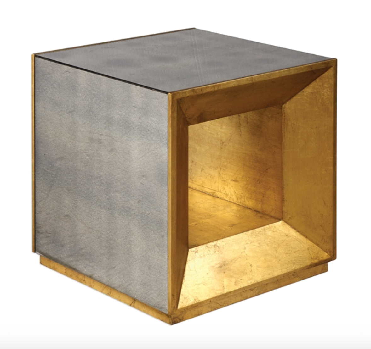 coffee table faceted with lightly antiqued mirror, accented with open beveled ends in antiqued gold leaf