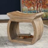 100% reclaimed elm wood accent table featuring an eye-catching scooped seat
