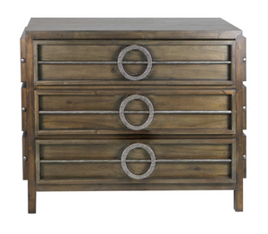 Solidly constructed of acacia wood finished in a weathered walnut, the Arwen Chest featuring three embellished dovetail drawers with metal accents in brushed steel, with coordinating sides.