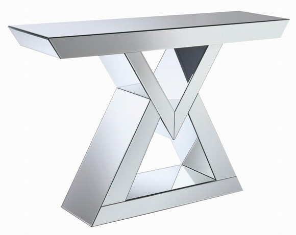 The Vector Mirrored Accent Console features shimmering clear mirror panels.  The triangular shape adds style and the generous top adds a sense of depth.  Spruce up your entryway or the area behind your sofa with this piece.