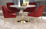 The Sahara Marble Dining Table features a solid marble top and brass metal base. The unique style makes this piece chic and a perfect place to have a good meal. Pair with the Sahara Dining Chairs for the perfect look.