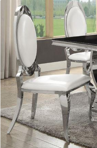 LaPearle Dining Chair S/2 Chrome dining chairs are modern and beautiful. The chrome finish topped by the crisp white leatherette is striking.  Make a bold statement with your dining area today.