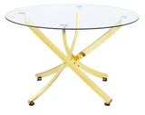 Dallas II Dining Table is featured in brass with gorgeous swooping legs.  The unique style makes this piece modern and fresh.  Great for small spaces that need high style.