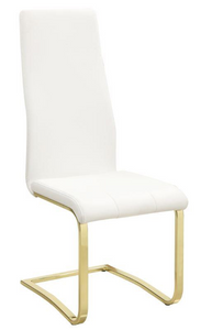 The Dallas II dining chair is modern and classy. The brass frame accented by the white leatherette is stylish and mod.  Great for sprucing up an existing table or new one.   Priced and sold in S/4