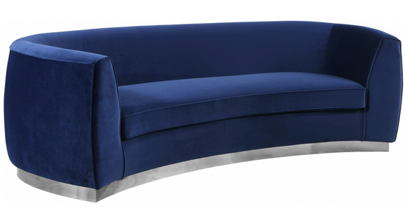 The Shell curved sofa features beautifully upholstered velvet with a shiny chrome stainless steel base. Using the highest quality velvets this set is sure to stun your guests. The curved sofa is gracious and visually makes small spaces appear larger. Add some flair to your living area with this stunning sofa.