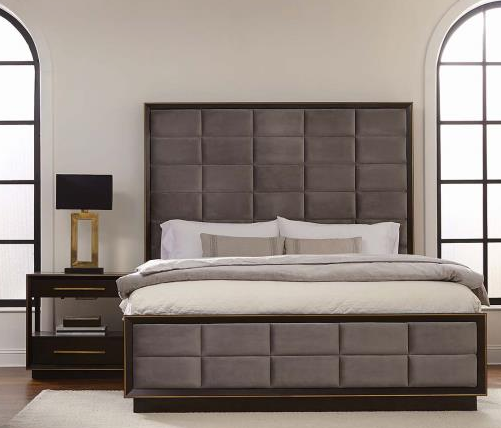 The Loquin Bed expresses modern living with wood and metal.  The grey padded square headboard is sleek and modern and the dark color makes it easy for cleaning. The gold metal detail adds a sense of high style to the bed.
