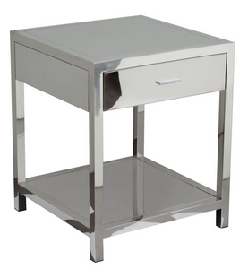 The Reflection Accent Table is sleek and stylish.  The polished chrome finish is stunning and modern.  Perfect in a guest room or the living room this accent table is sure to wow your guest.  Storage drawer is velvet lined.