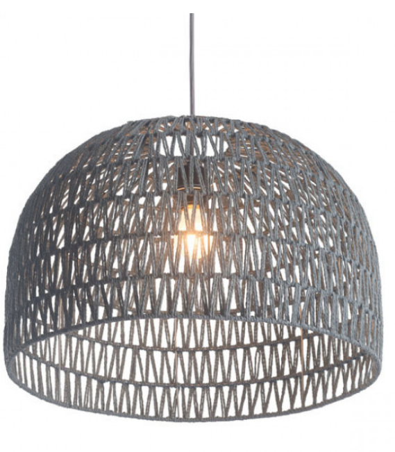 The woven dome ceiling lamp has a large dome shaped shade. Shade material surrounds a metal architecture with an grey polyester woven thread zig zag pattern woven throughout creating a soft, see through shade. Install in kitchens and dining rooms, restaurants or day spas for a softer look to your modern design. Bulbs not included. Bulbs sold separately, Max Watt 60 W, Size E26, Type A19. UL approved and listed.