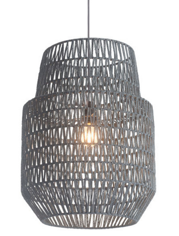 The Woven Tatum Ceiling Light has a large 2 level bell shaped shade. Shade material surrounds a metal architecture with an grey polyester woven thread zig zag pattern woven throughout pattern creating a soft, see through shade. Install in kitchens or day rooms, group over living and dining rooms and perfect for a softer look to your modern design. Bulbs not included. Bulbs sold separately, Max Watt 60 W, Size E26, Type A19. UL approved and listed.