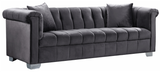 The Kristof Modern Sofa Collection has a velvet upholstery and chrome legs that will look great in your living room. The Channel upholstery is sleek and modern. This collection comes in four colors to better suit your design taste.