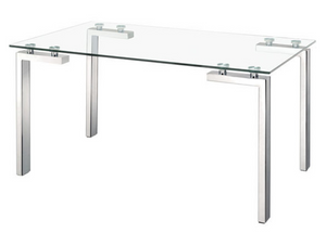 The Stout dining table has strong architectural lines in its design. Made with a clear tempered glass top and stainless steel tube legs, this table looks great with dining chairs or as a desk with an office and two conference chairs. Be inspired with the Stout table.