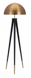 The Conan floor lamp has a classic mid-century modern dome shade and is updated in brass to create this sculptural floor lamp. Its hefty tripod base is in dramatic black and highlighted with beautiful brass accents. Place it in a living room to illuminate a corner or next to your favorite chair.