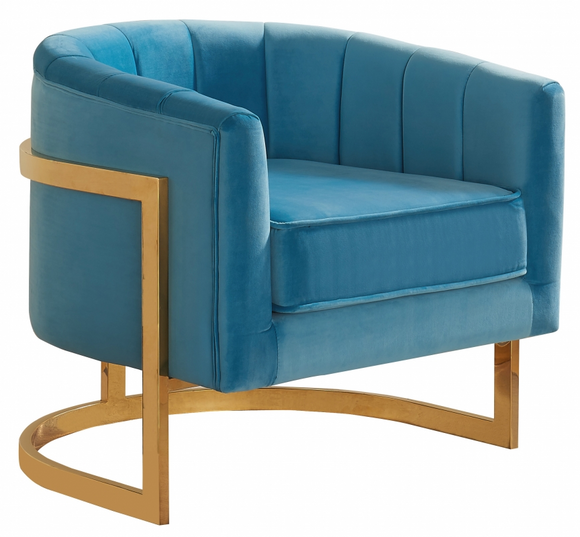 The Celeste Accent Chair has a mid century modern chair with velvet upholstery. The gold base makes this chair one to marvel over. Rich velvet covers the plush, comfortable seat, padded with high-density foam. Strength is offered by the stunning Stainless Steel legs, which feature a beautiful Gold finish.