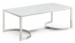 The Clayton Occasional Tables are beautiful pieces made of genuine marble. These modern pieces would look great in your office or living area. This coffee table features geometric bases, and a sleek chrome finish that gives your space a bold, up-to-the-minute look. Each table has a genuine marble top for durability and style.