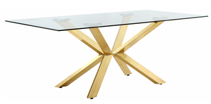 The Jamie Modern Dining Table is unique featuring a beautiful contemporary design with Gold plated stainless steel base and Genuine glass top. This dining table is guaranteed to be the highlight of any home