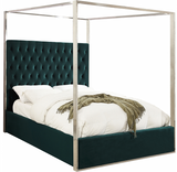 The Structure Modern Canopy Bed has a tufted headboard that stands a full 60 inches tall, giving the bed a regal and sophisticated look. The headboard is tufted for added elegance, and the bed comes with a chrome canopy, adding to its overall elegance and grandeur. Velvet fabric used on the sides and headboard gives it a luxe vibe, and the headboard is heavily padded, making it an ideal backrest for reading or watching TV.