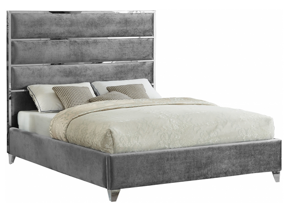 The Tier upholstered Modern bed is a modern marvel. The sleek velvet upholstery is not just supple and smooth to the touch - it also lends the bed an uber modern look from top to bottom. A chrome channel design draws the eye instantly to this fabulous bed, while chrome legs ensure the support it needs to support the mattress of your choice.