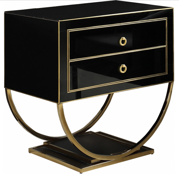 Alya Accent Cabinet is truly timeless. This handsome table features a semi-circle base on a dual pedestal for an attention-commanding look. The black or white glass finish is trimmed in gold or sliver for a contrast that's nothing short of stunning. The double drawers help you organize everything from TV remotes to games and DVDs. They would even work great as night stands.