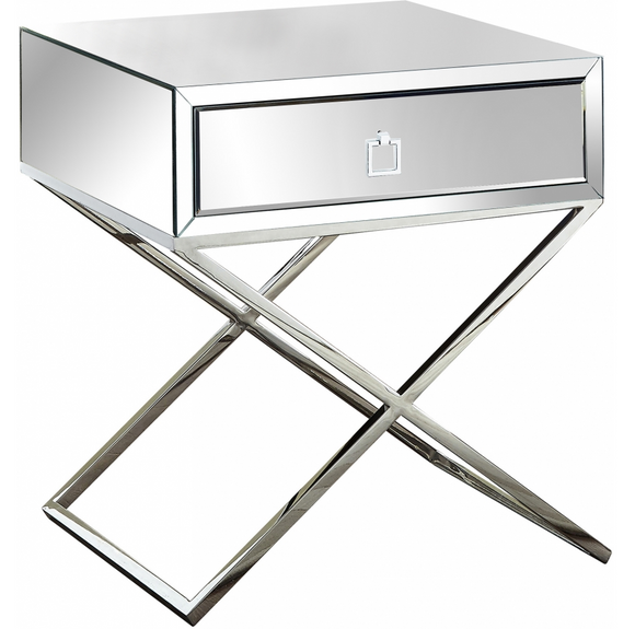 The Cross Accent Table allows you to mix functionality with a unique modern style with this eye-catching side table. Featuring chrome finish stainless steel legs or gold in a criss-cross