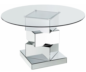Cube Modern Mirrored Dining Table is eye catching. This table has a stacked geometric design featuring multiple squares resting atop each other for a look that wows from every angle. Dinner guests will marvel at the exceptionally modern look of this work of art disguised as a dining table, and you can pair it with your choice of chairs to complete the look. The glass top allows the sculptural quality of the base to shine through, and the base is mirrored for added beauty as it reflects light throughout your