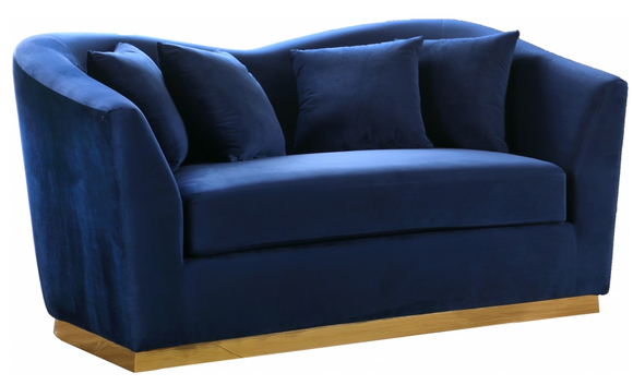 The Slope Modern Sofa Collection is graceful and stylish. This handsome sofa is upholstered in velvet for a glamorous touch and is accented with gold stainless steel around its base for a touch of modernity. Its curvy back gives it a graceful look in your living room or den, and it comes with coordinating throw pillows that beckon you to sit down and rest (or nap) for a spell.