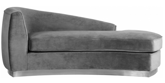 The Shell Curved Chaise Lounge comes upholstered in rich, sumptuous-to-the-touch velvet to make a fashionable statement in your space.The curved back design lends it a modish touch, and the chrome stainless steel trim around its base adds to its glitzy appeal. Great in a bedroom or lounger are or even use 2 across form each other for a