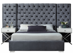 The Abundance Modern Bed is covered in Svelte velvet, it covers each inch of this magnificently styled bed, lending it a bit of softness and glamour. The bold headboard is heavily button tufted for a regal and sophisticated look, and it's padded, so you can rest your back against it while you read or watch TV. The full-framed base is modish and sleek and provides sturdy support for the mattress of your choice.