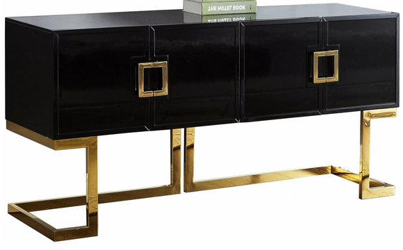 The Givency Modern Sideboard boast modern style. This indispensable piece is a modern marvel with its contemporary design featuring black or white lacquer with a gold or chrome stainless steel trim and base. Open the doors to reveal a large area that's suitable for storing everything from serving bowls to out-of-season dinnerware.