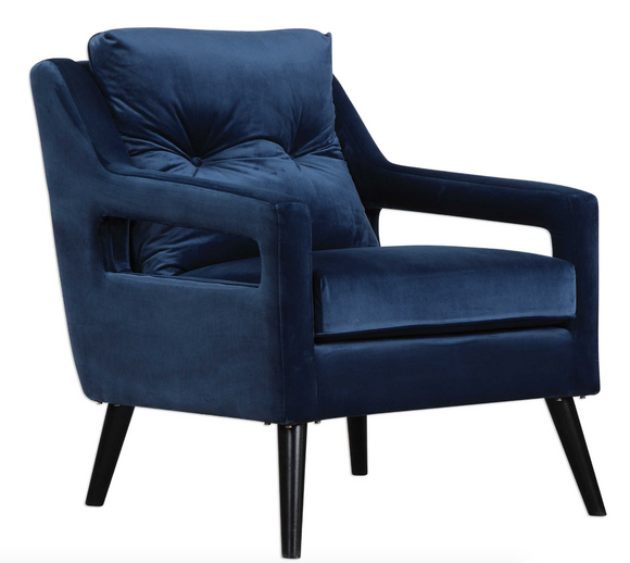 This open back concept armchair is made of ink blue polyester velvet and has solid birch wood legs in antique black. Add this the Azure Chair to any room for a great place to sit and an even better look.
