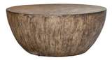 This drum shape coffee table showcasing a minimalist style, this round coffee table features a mango wood veneer overlay in a heavily textured aged walnut finish.