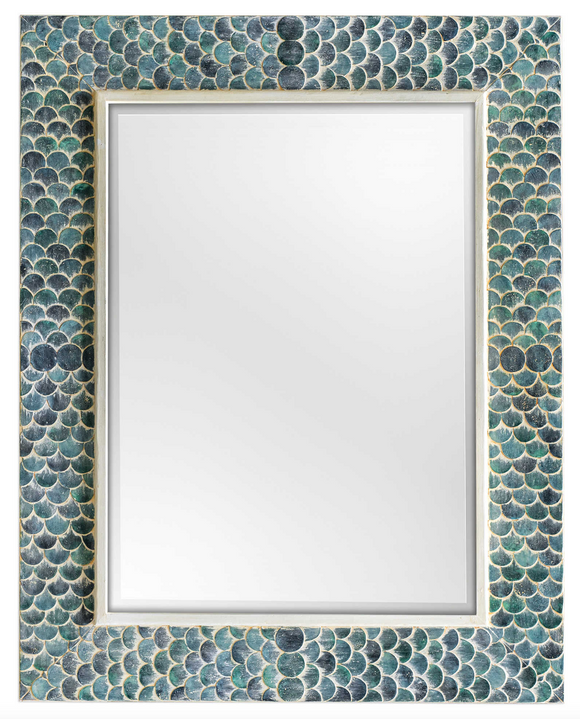 The scales wall Mirror is vibrant and interesting. This unique design takes a whimsical approach by adorning a solid wood frame with fiber glass mermaid scales, hand painted in shades of tropical blues, accented with a heavy white wash. Mirror is beveled. May be hung horizontal or vertical.