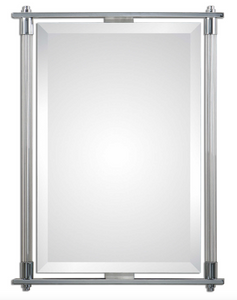 "The Ribba Accent Mirror features a Ribbed glass columns accented with polished chrome plated details. Mirror features a generous 1 1/4"" bevel. May be hung either horizontal or vertical."