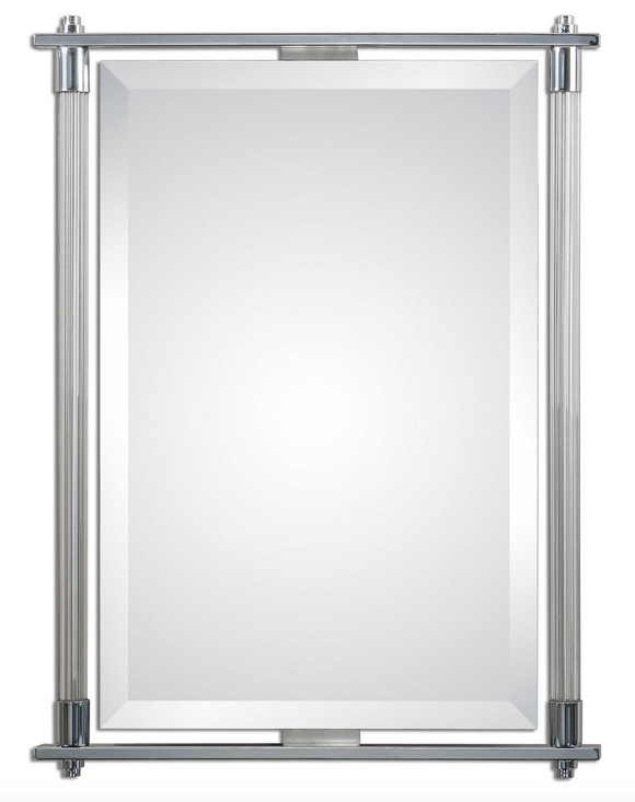 The Ribba Accent Mirror features a Ribbed glass columns accented with polished chrome plated details. Mirror features a generous 1 1/4