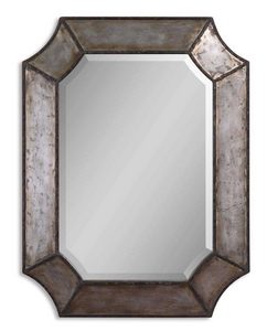 "Elcrinkle Distressed Metal mirror's frame is made of distressed, hammered aluminum with burnished edges and rustic bronze details. Mirror has a generous 1 1/4"" bevel. May be hung either horizontal or vertical."