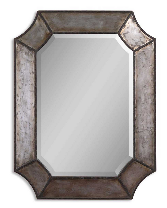 Elcrinkle Distressed Metal mirror's frame is made of distressed, hammered aluminum with burnished edges and rustic bronze details. Mirror has a generous 1 1/4