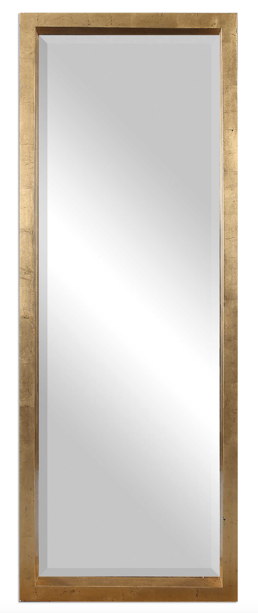 The Treton Wall or Floor Mirror is perfect to use as a dressing mirror or just for accent. This stately mirror features a deep, solid wood frame with a lightly antiqued gold leaf finish. Mirror has a generous 1 1/4