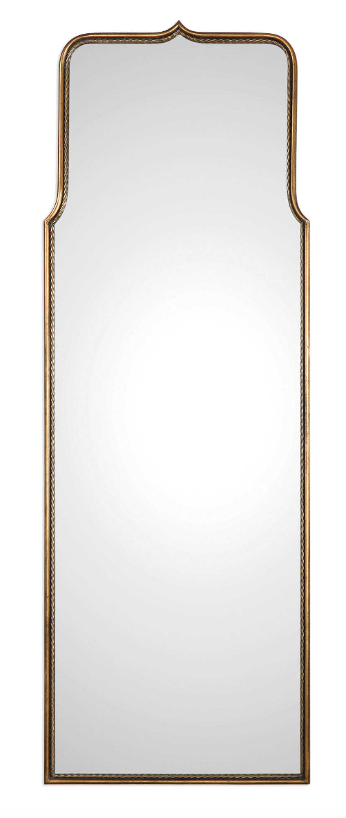 The Hembly iron dressing mirror features a smooth exterior and a twisted interior, finished in a heavily antiqued gold leaf this mirror is sure to make a statement.